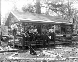 "Construction of ""Teddy Bear Cabin"" at Langford Lake"