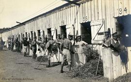 2nd Canadian Mounted Rifles at Willows Camp, cleaning out horse stalls