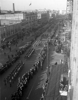 War Savings Military parade on Douglas Street looking north
