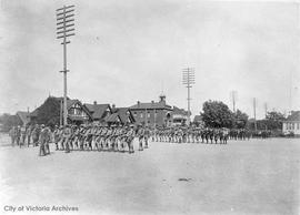 Cadets of the 388th marching on the grounds of Central School, Yates Street