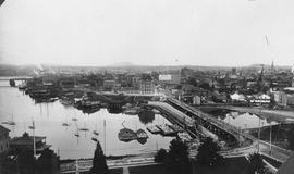 Inner Harbour from the Parliament Buildings.  Causeway under construction