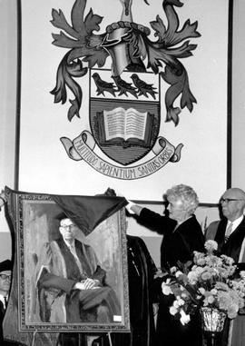 Unveiling of portrait of J.B. Clearihue at U Vic