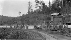 Sooke water supply. Pipe laying at Cooper's Cove