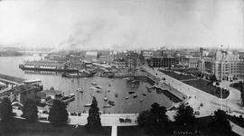 Panorama from the dome of the Parliament Buildings looking over the harbour