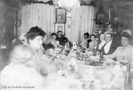 Christmas at Helmcken house, 638 Elliot Street: L to R: Rita McTavish, John S. Jr., Maude Goodwin...