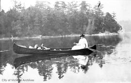 Gladys Maude Cameron in her Peterborough Canoe on the Gorge