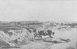 First Nations dwellings and canoes on the Songhees Reserve as they appeared in 1866