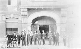 Staff of Turner Beaton & Co. outside their office on Wharf Street.