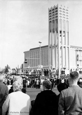 Carillon Tower, Belleville Street with the Royal British Columbia Museum behind. ceremony of the ...