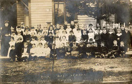 Rock Bay School group.  Miss C.W. Forrest, teacher