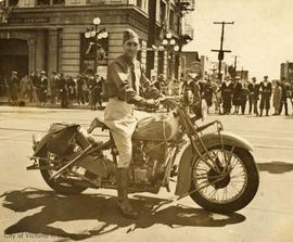 Richard George Shanks, part of special police force for Royal visit, on his motorcycle