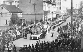 Memorial service on Easter Sunday for Dr. Sun Yat Sen. April 12, 1925.  On Fisgard Street looking...