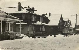 10,12 and 16 Bushby Street during the 'Great Snow' of 1916