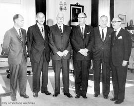 Canadian Manufacturers Association visit to Government House. Lt. Governor Pearkes at Centre, M.L...