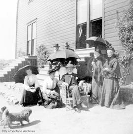 "Harvey family outside ""Stoneyhurst"""