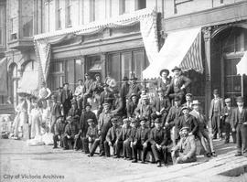 Buechler and Letourneau's Klondike party outside 40 Yates Street, outfitted by F.R. Stewart