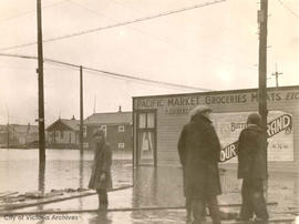 S.E. corner of Belmont Street and Haultain Street during the January flood