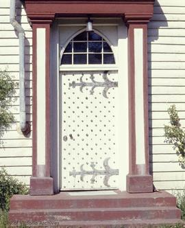 "Kenneth McKenzie family home on the Old Island Highway known as ""Craigflower"", front door"