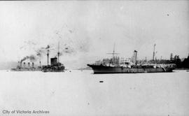 "Esquimalt Harbour ""Restorer"" and Japanese cruiser at anchor"