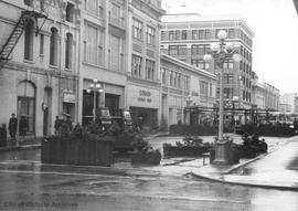 Broad Street blocked off between Fort and View Streets to form experimental mall between two Eato...
