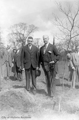 Mayor Herbert Anscomb and Sir Arthur Currie at tree planting ceremony in Mayor's Grove, Beac...