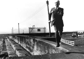 Frank Hunter, long-time City Clerk, jogging at Ogden Point