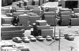 Stockpiling lumber at Ogden Point