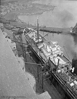 View of ship from top of Odgen Point Grain elevator