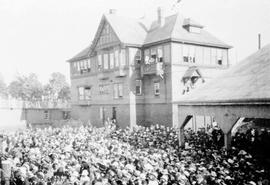 Crowd at Canadian Pacific Railway (CPR) ticket office for the departure of the 11th CMR