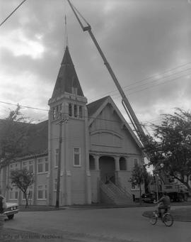949 Fullerton Avenue Church tower being removed