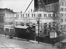 Bank of Nova Scotia under construction at N.E. corner of Yates Street and Douglas Street