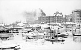 Inner Harbour in the snow.  Post office in the background