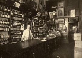 Interior of Saunders Grocery Store, Liquor department