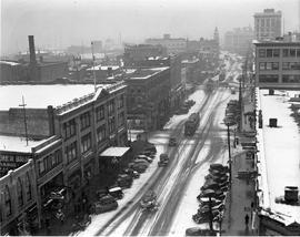 Douglas Street looking north from the top of the Campbell Building in the snow