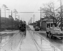 The No. 6 streetcar at the intersection of May Street and Moss Street