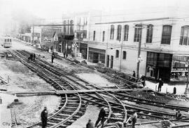 British Columbia Electric Company (BCER) tracks at Pandora Avenue and Douglas Street