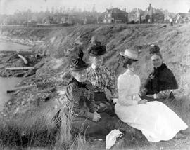 Walbran family on the cliffs at Dallas Road