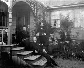 McKenzie family on the steps of their residence at Lake Hill (now Christmas Hill) L to R: Goodie,...