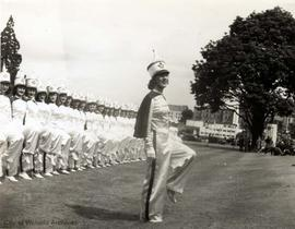 Victoria Girls Drill team in formation on the lawn of the Parliament Buildings