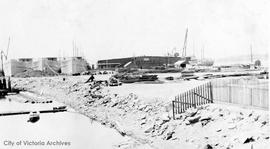 Outfitting ships at Ogden Point for the war