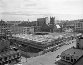 Construction of the Broughton Street parkade looking NE