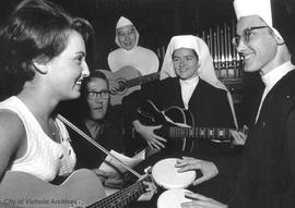 After Vatican II nuns rehearse for rock mass