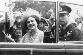 Queen Elizabeth, the Queen Mother, in car