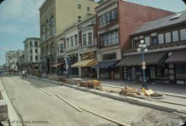 Government Street mall under construction, east side of 900 block, looking north