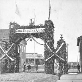Arch at Albion Iron Works erected for the visit of H.R.H Princess Louise and the Marquis of Lorne