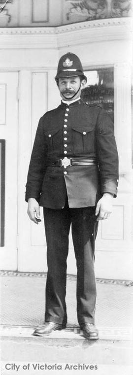 Victoria Police Constable John Fry, later Chief 1921-1931, outside the Empress Grand Theatre