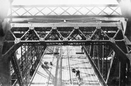 Johnson Street Bridge under construction, view from machine house looking west