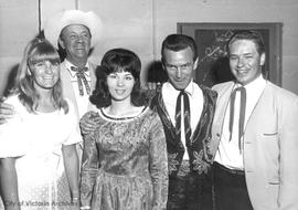 Wilf Carter, Skeeter Davis, Tommy Collins and cast at Memorial Arena