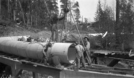 Sooke water supply. Pipelining at trestle #42