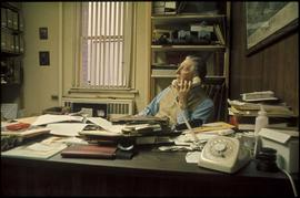 Ainslie Helmcken at his desk, City Archives, 613 Pandora Avenue